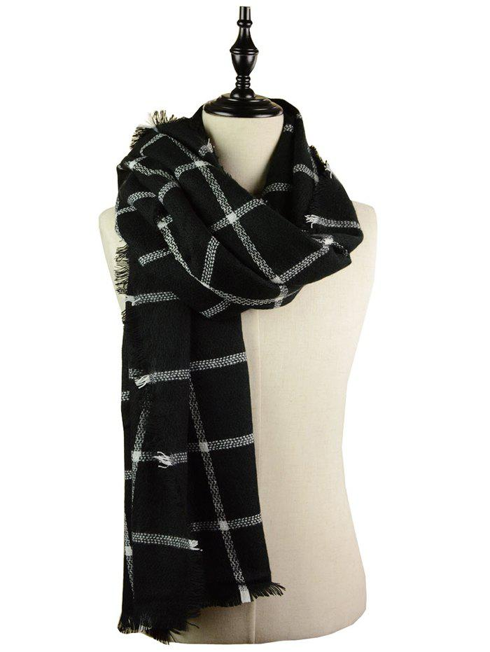Outdoor Checked Pattern Artificial Wool Fringed Shawl Scarf - BLACK ONE SIZE