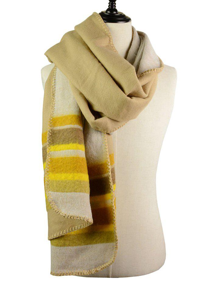Striped Pattern Faux Wool Reversible Long Scarf - GINGER