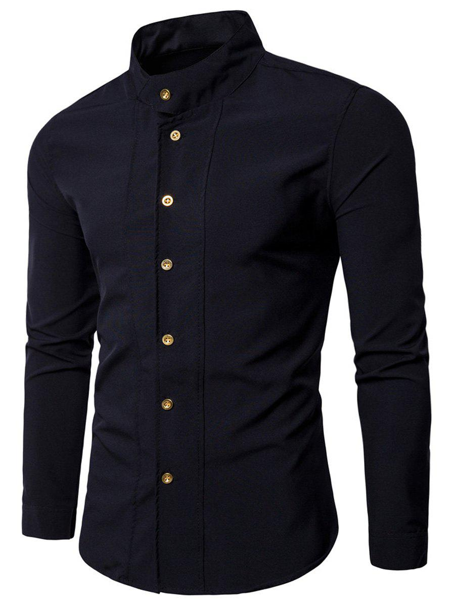 Casual Long Sleeve Stand Collar Shirt - BLACK 2XL