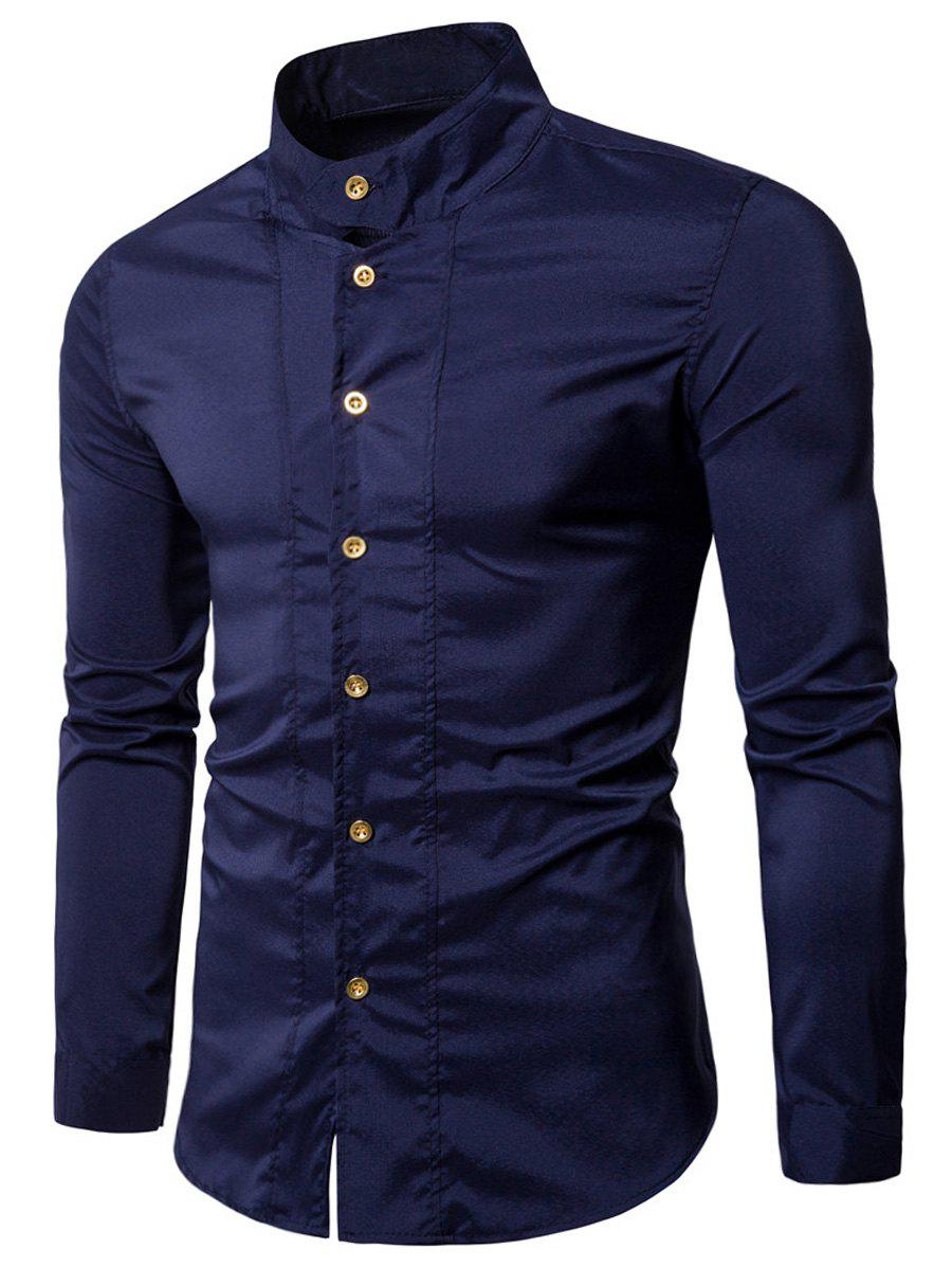 Casual Long Sleeve Stand Collar Shirt - PURPLISH BLUE 2XL