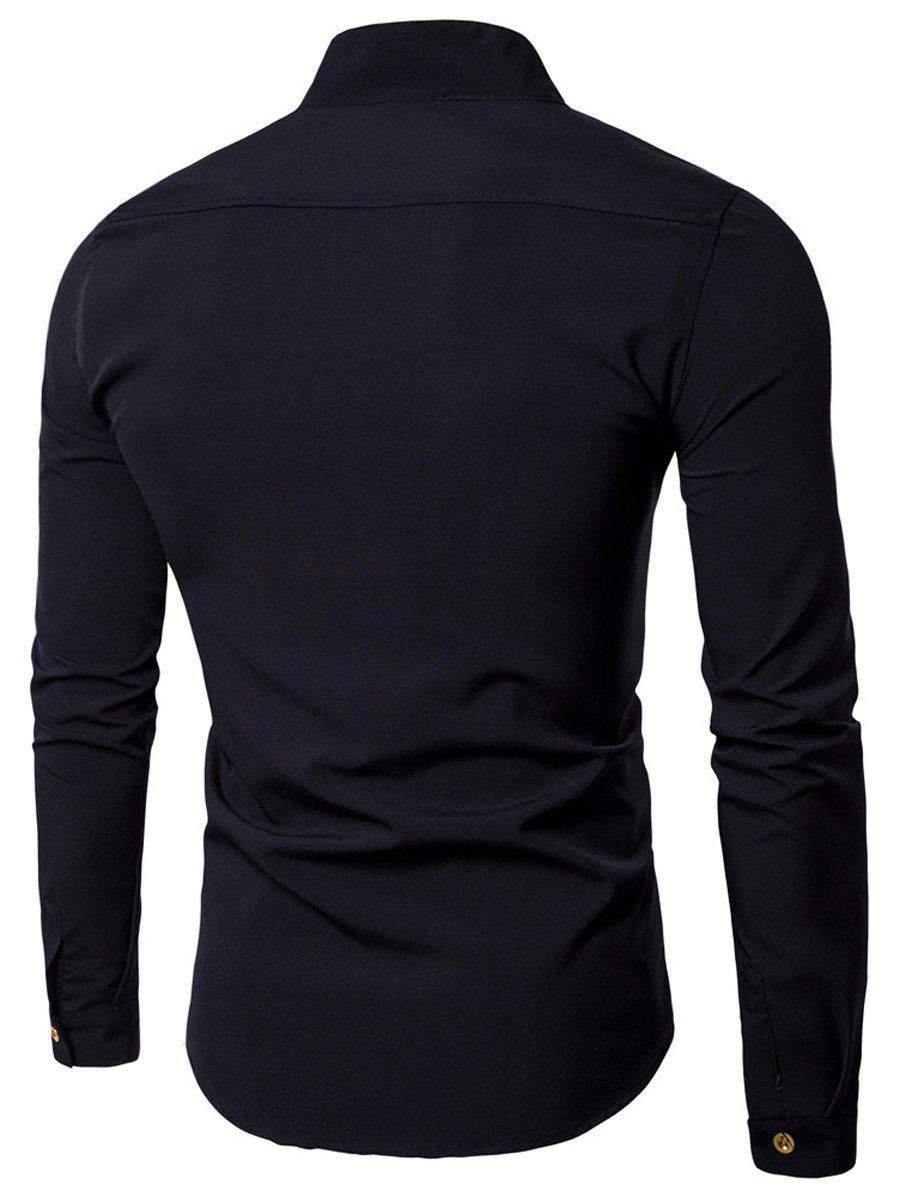 Casual Long Sleeve Stand Collar Shirt - BLACK L