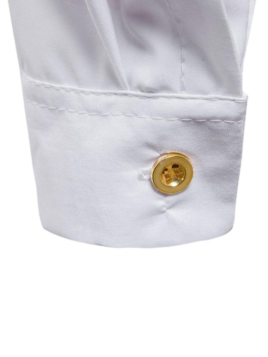 Casual Long Sleeve Stand Collar Shirt - WHITE M