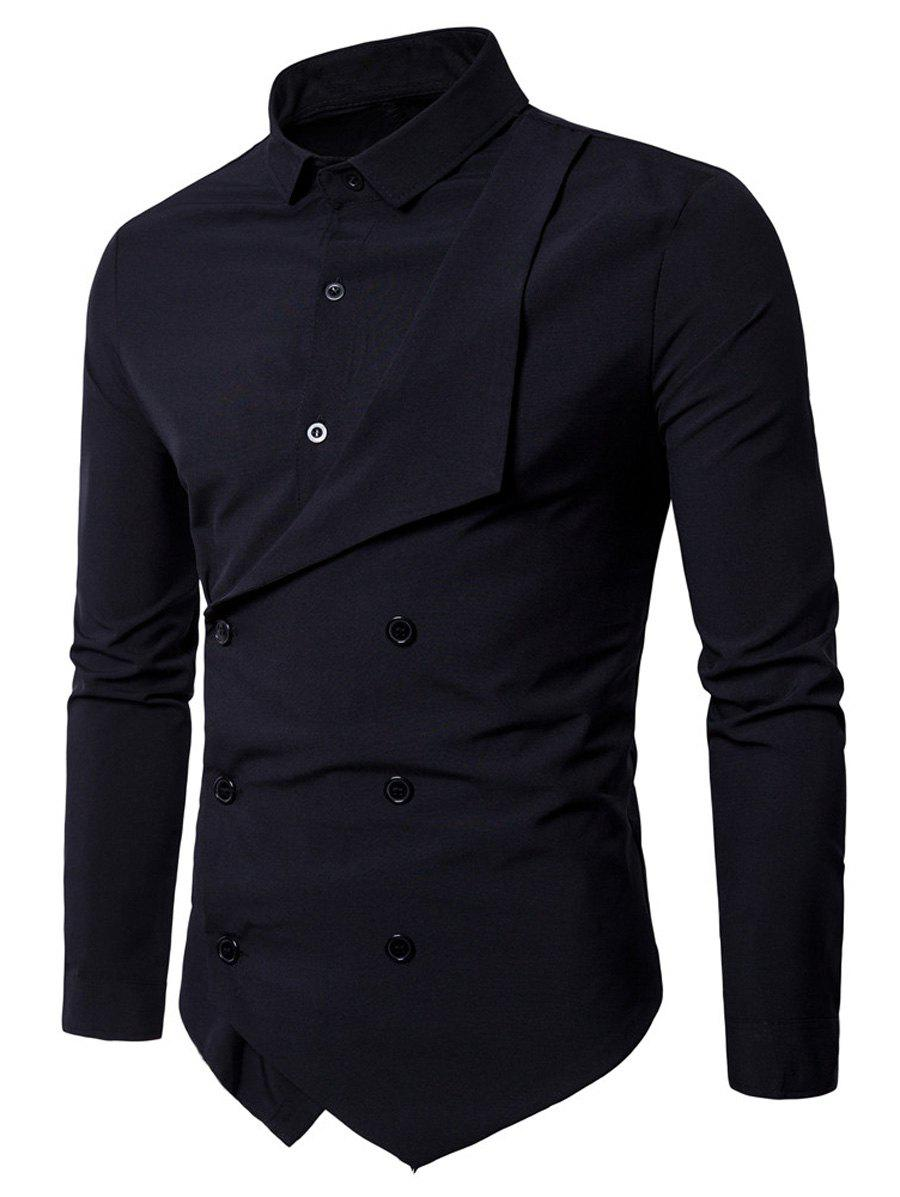 Long Sleeve Layered Double Breasted Shirt - BLACK M