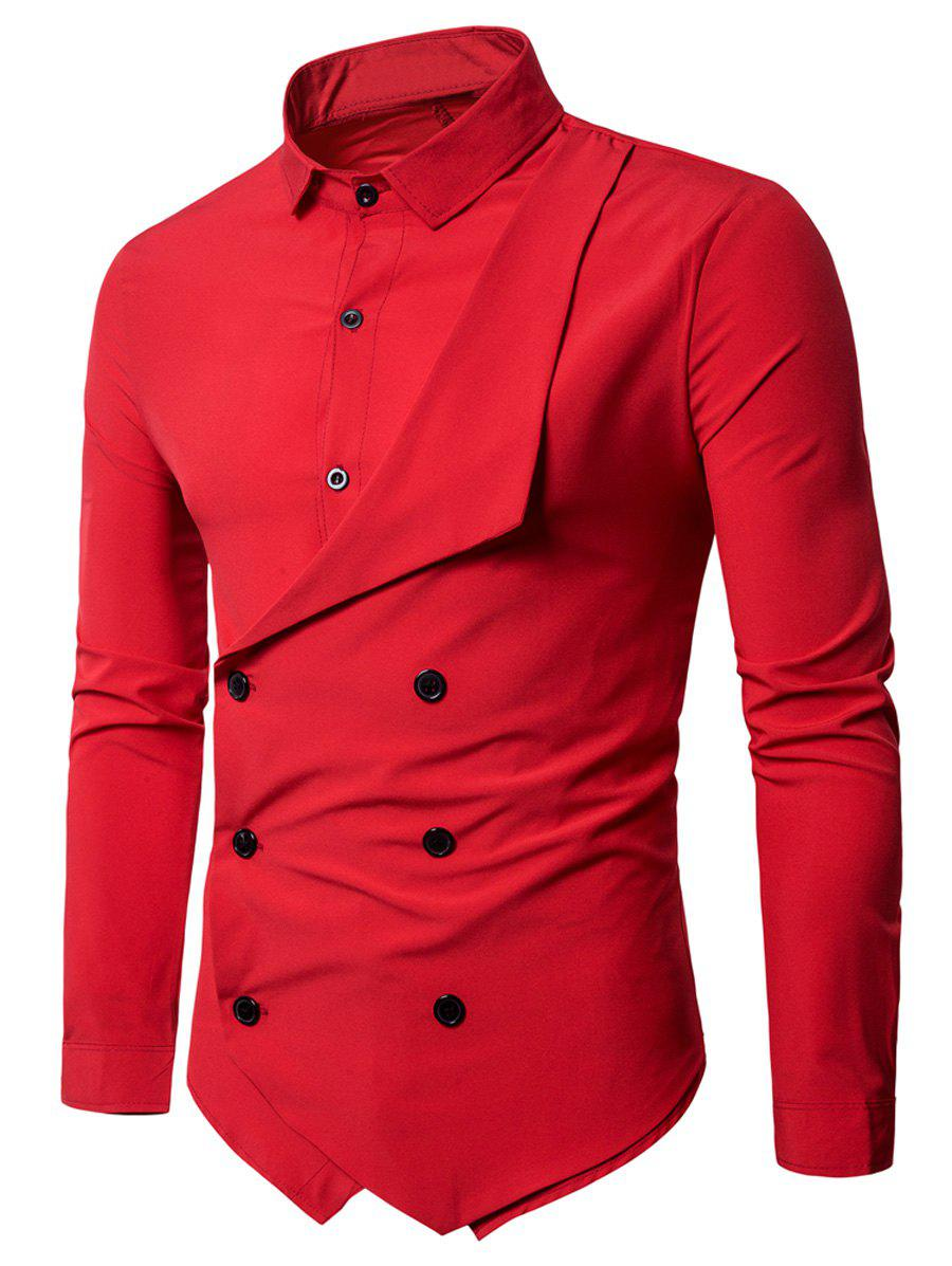 Long Sleeve Layered Double Breasted Shirt - RED L