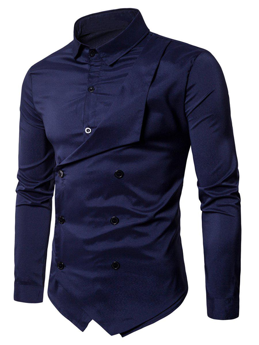 Long Sleeve Layered Double Breasted Shirt - PURPLISH BLUE 2XL