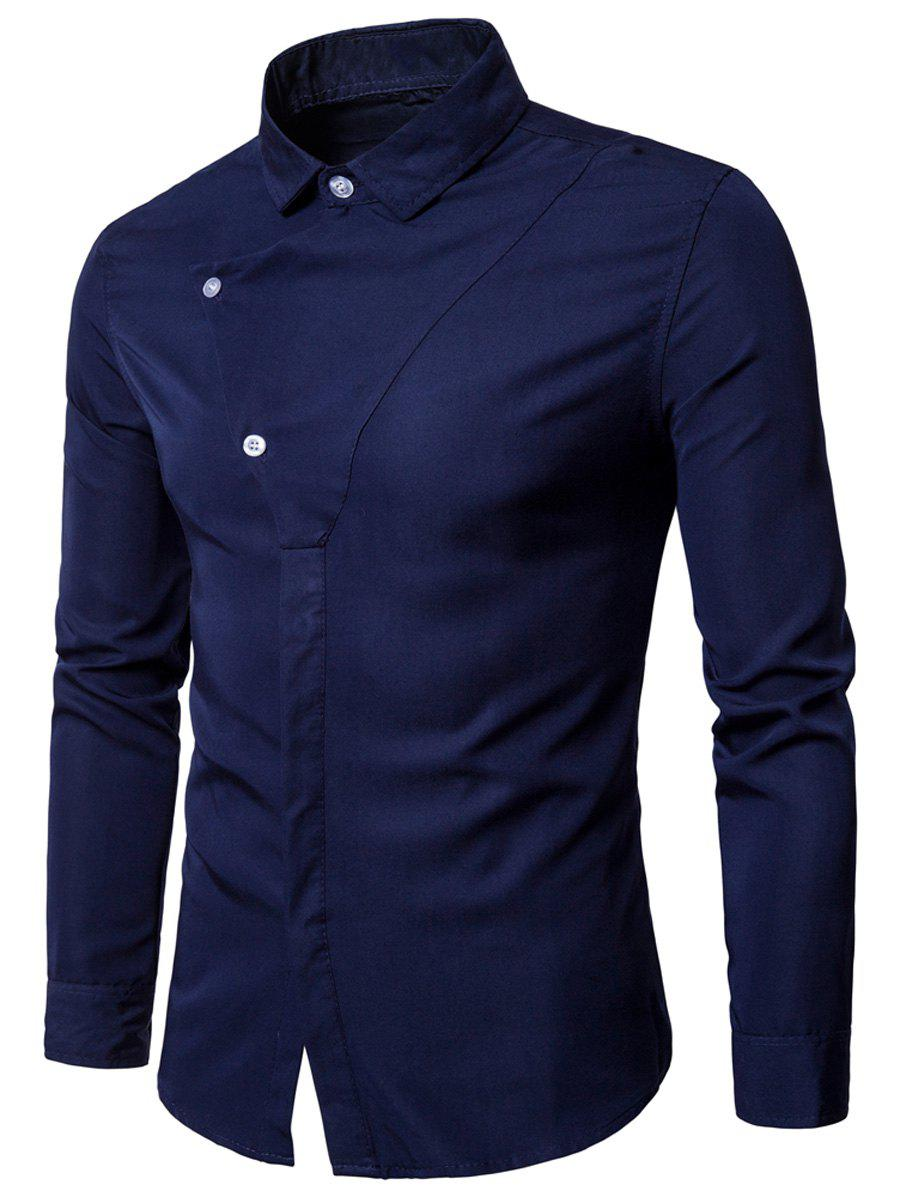 Long Sleeve Covered Botton Panel Design Shirt - PURPLISH BLUE 2XL