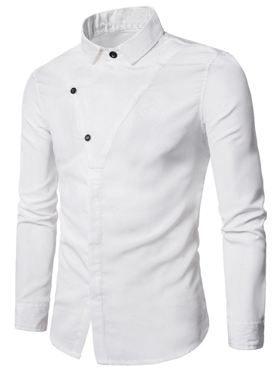 Long Sleeve Covered Botton Panel Design Shirt - WHITE XL