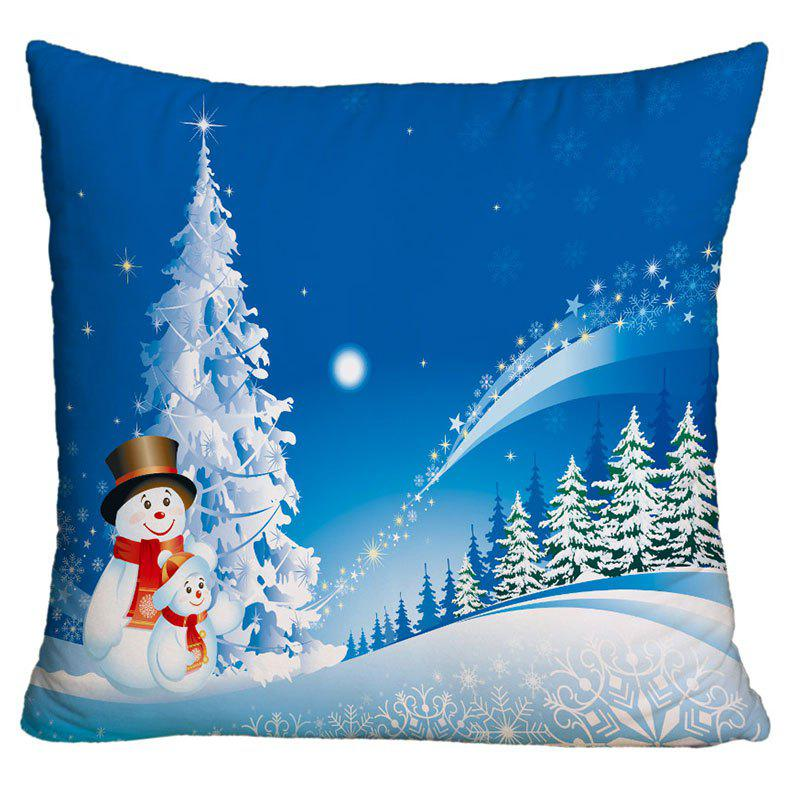Father and Child Snowman Print Christmas Decorative Pillow Case - BLUE W18 INCH * L18 INCH