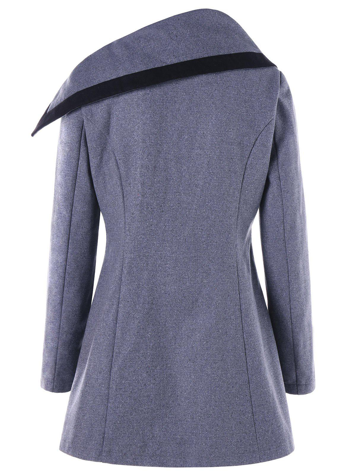 High Low Oblique Button Tunic Wool Coat - GRAY L