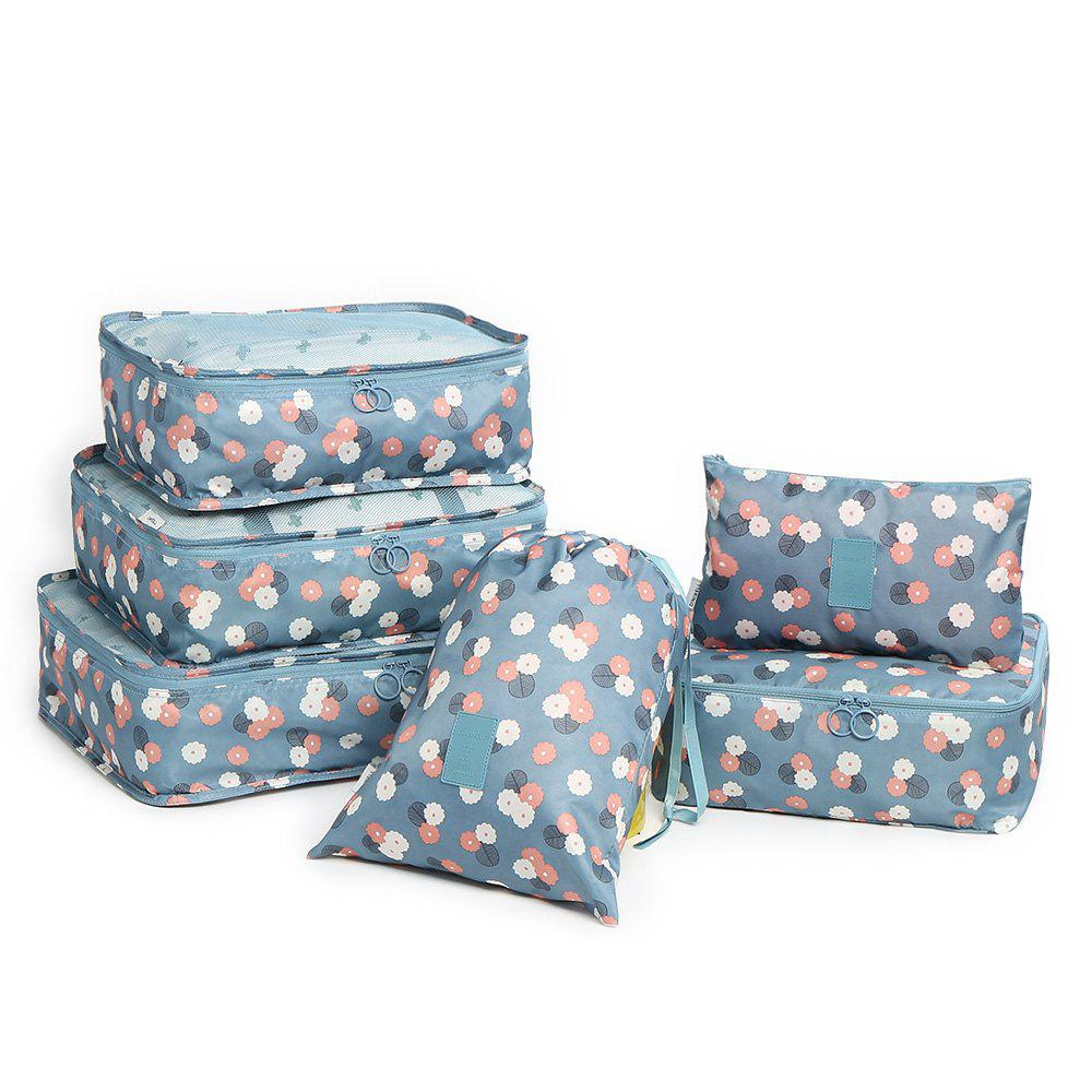 6 Pieces Floral Print Storage Bag Set - OCEAN BLUE