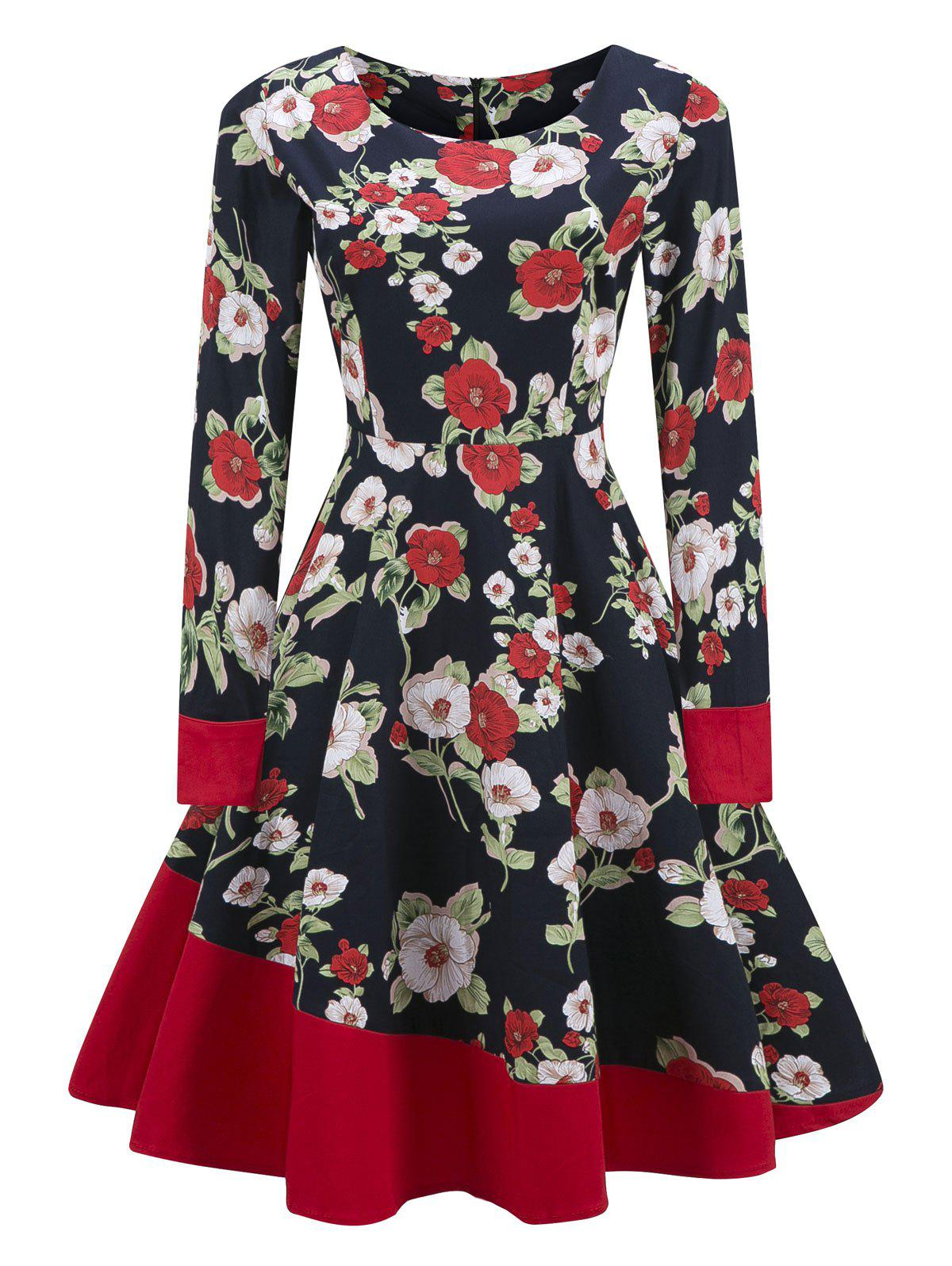 Vintage Color Block Floral Skater Pin Up Dress - PURPLISH BLUE S