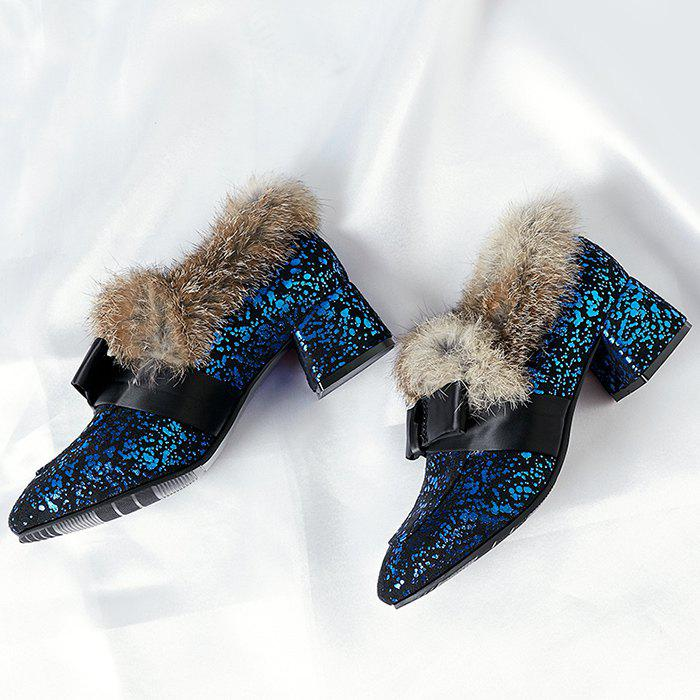 Bow Splicing Glitter Fur Ankle Boots - BLUE/BLACK 37