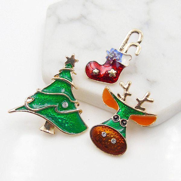 Christmas Shoe Deer Star Tree Brooch Set - GREEN