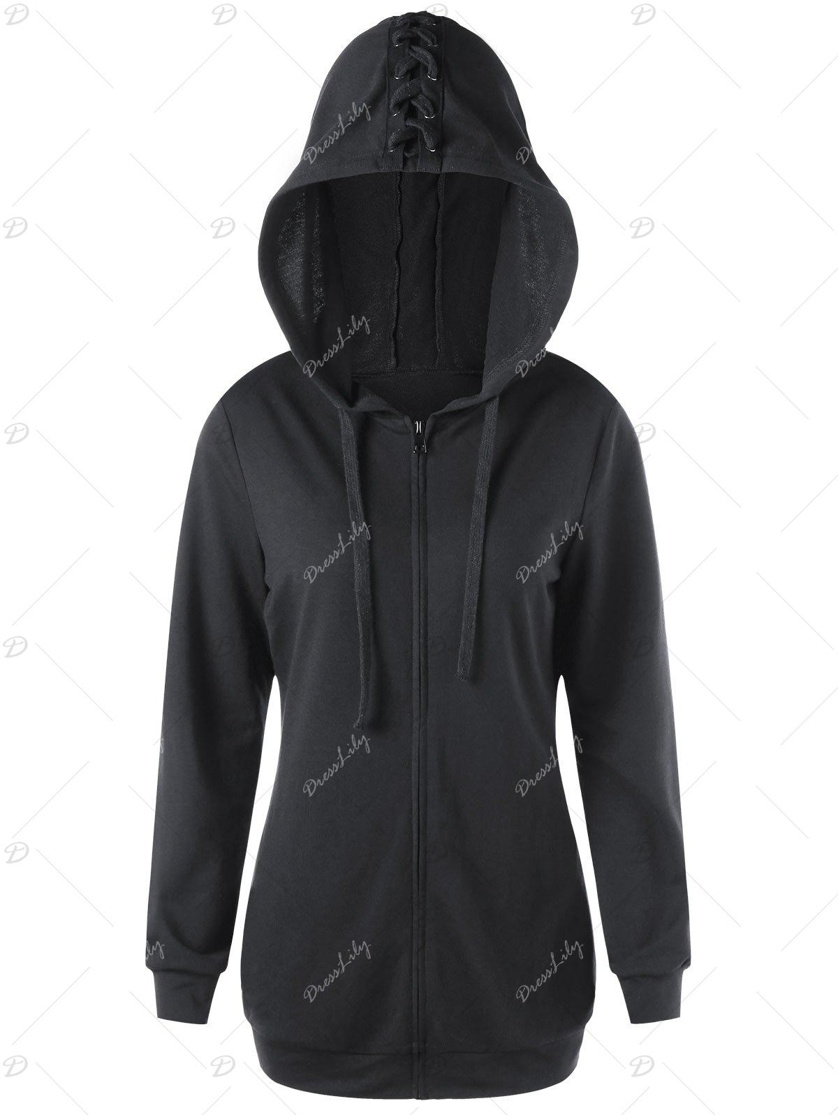 Zippered Lace Up Angel Wings Hoodie - BLACK L