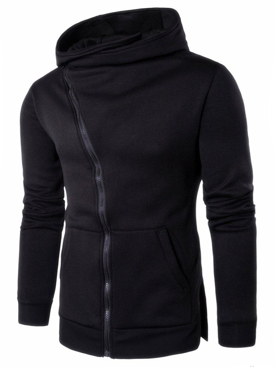 Kangaroo Pocket Side Split Asymmetrical Zip Hoodie genelec g one mystic black