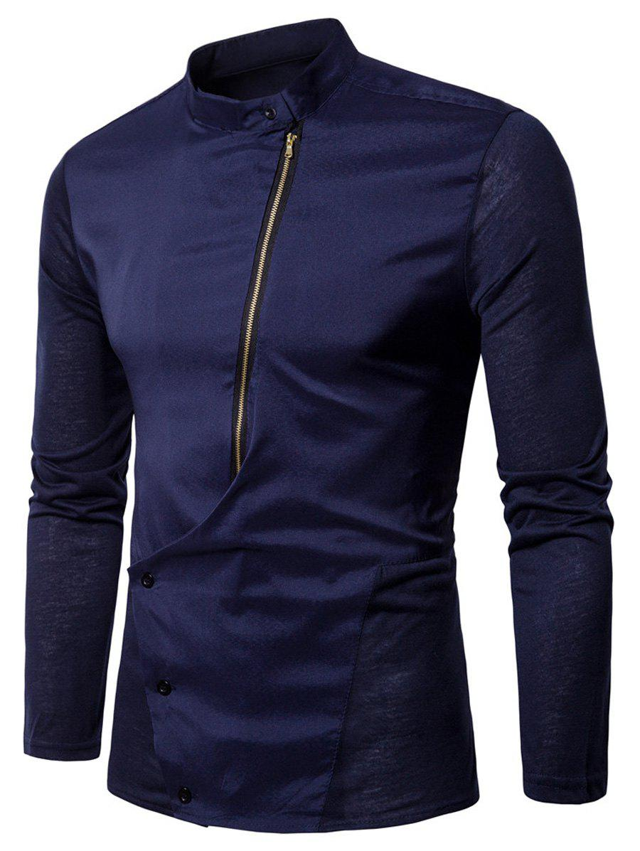 Mandarin Collar Button and Zipper Shirt - PURPLISH BLUE XL