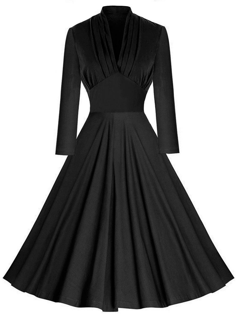Plunging Pleated Empire Waist Vintage Dress - BLACK XL