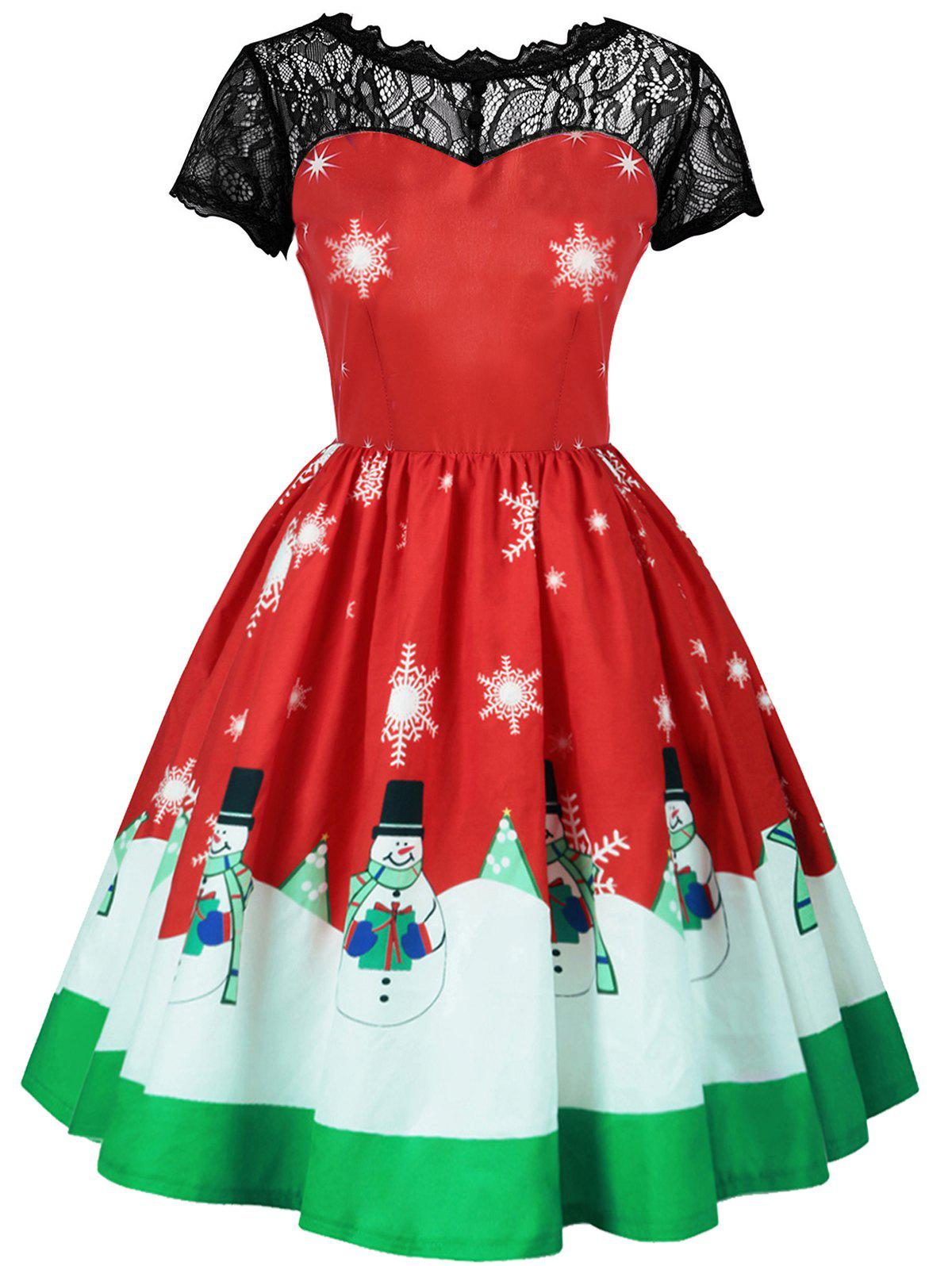Plus Size Christmas Snowflake and Snowman Print Dress plus size christmas snowman printed lace sleeve dress