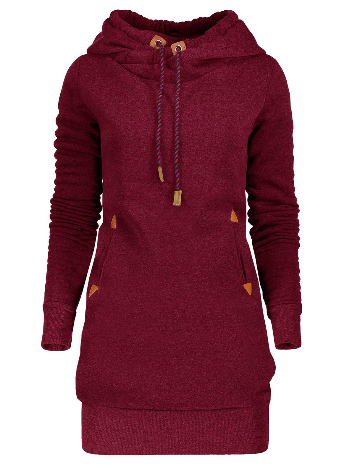 Tunic Drawstring Hoodie Dress with Pocket drawstring pocket hoodie with midi skirt