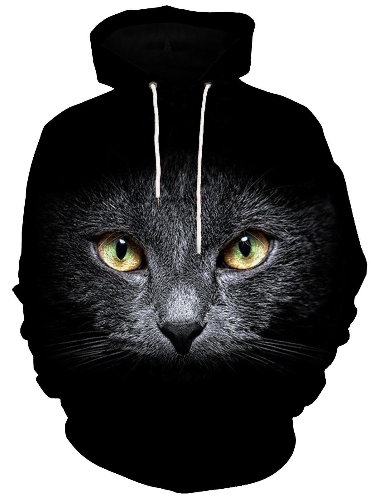 Kangaroo Pocket 3D Cat Print Hoodie - BLACK 2XL