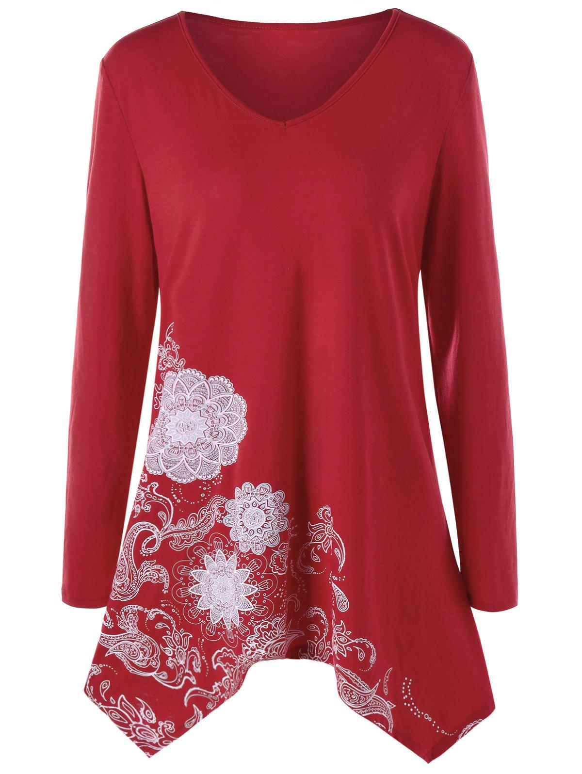 Plus Size Long Sleeve Paisley Tunic Top