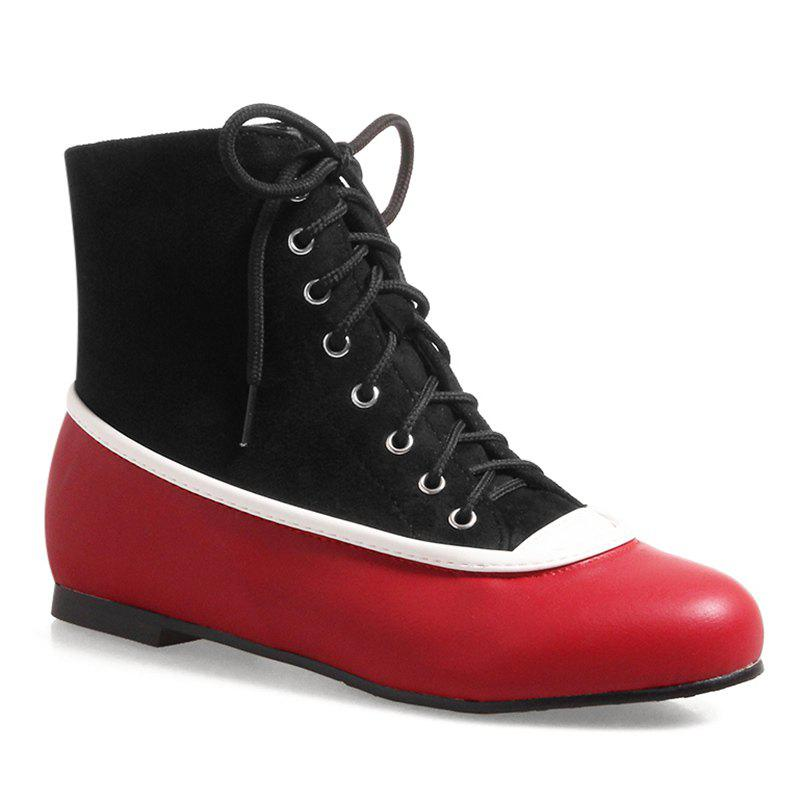 Lace Up Color Block Flat Heel Boots - RED/BLACK 39