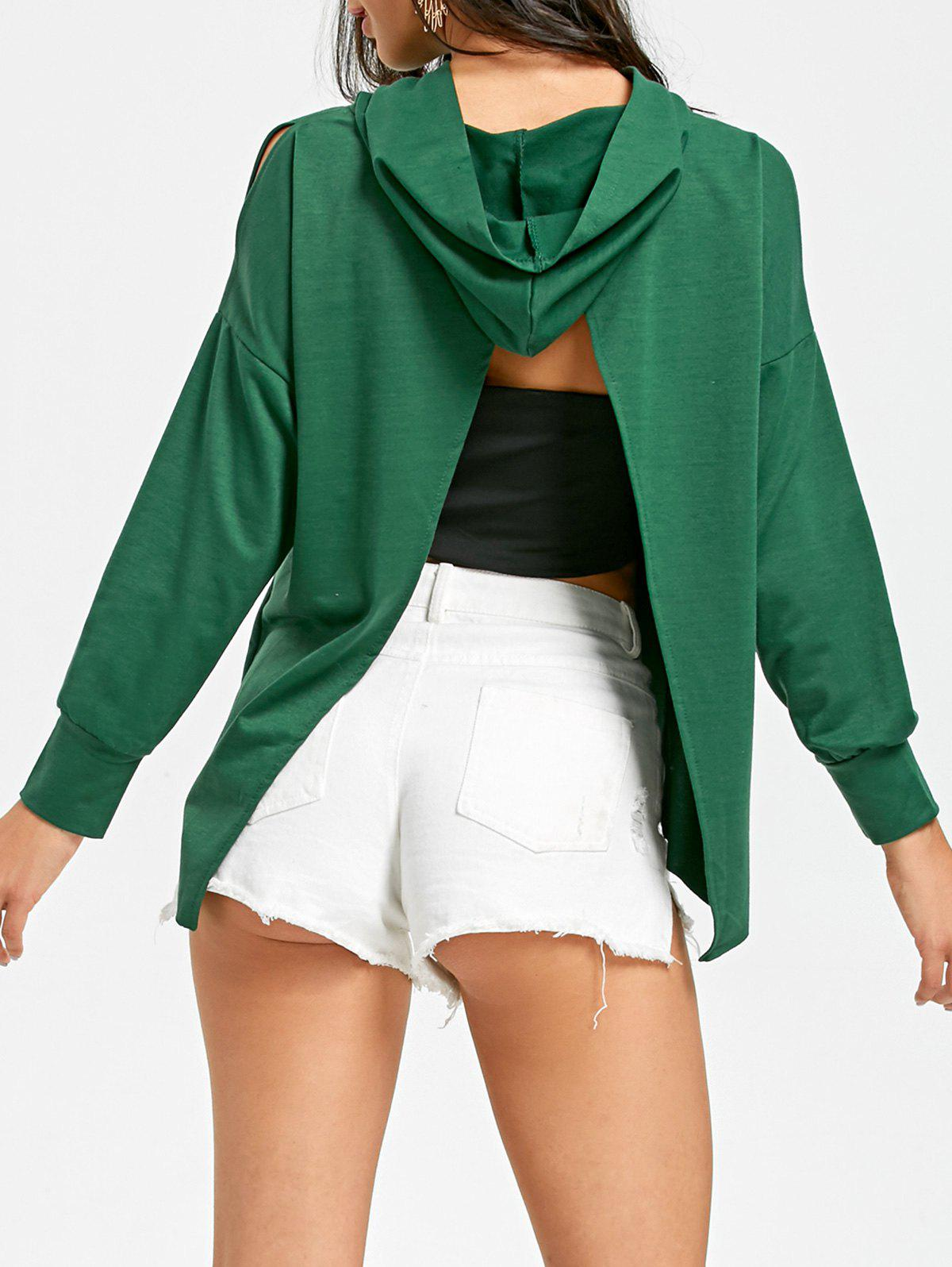 Back Slit High Low Hem Hoodie - BLACKISH GREEN XL