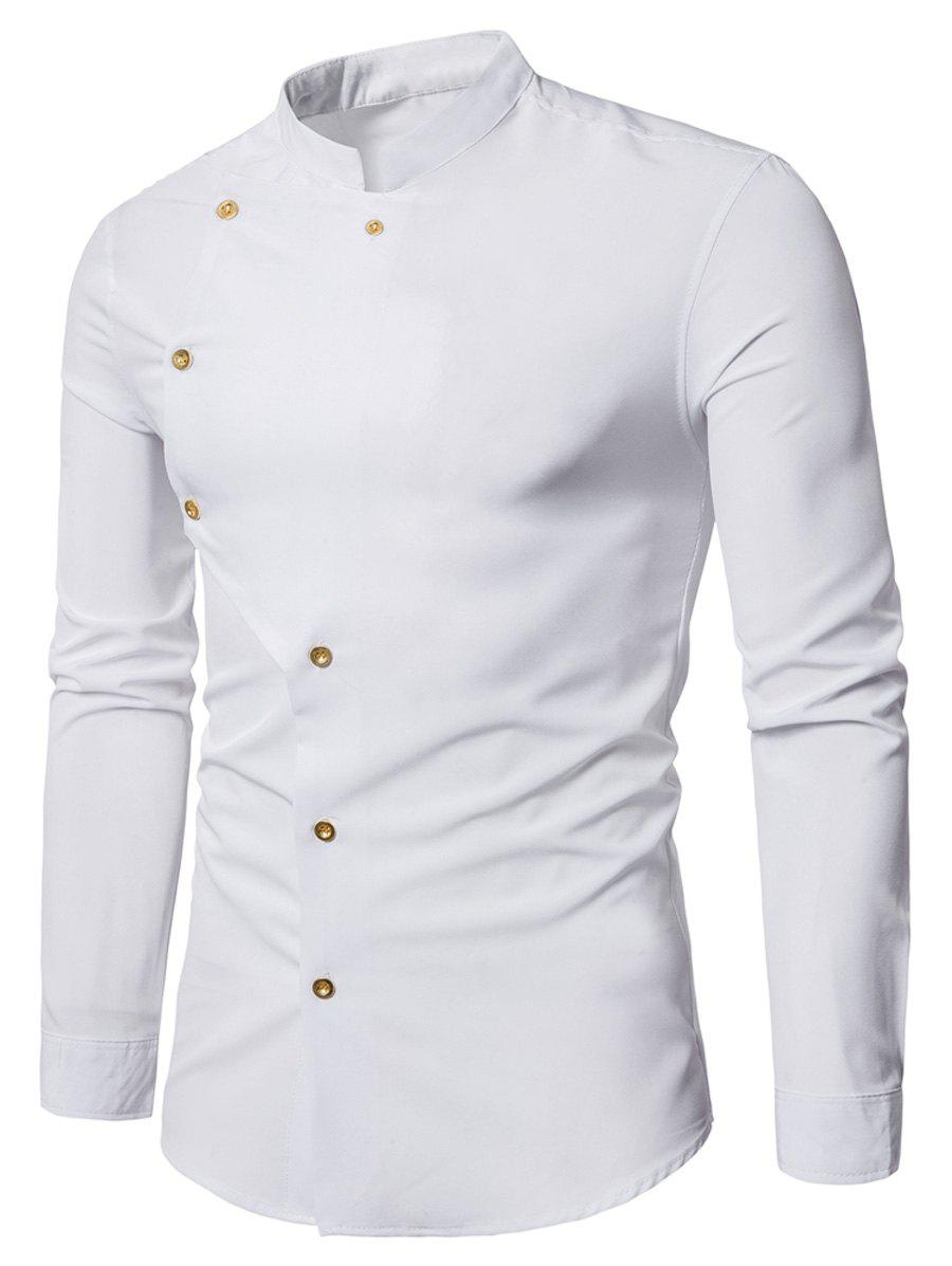 Asymmetrical Button Up Grandad Collar Shirt - WHITE XL
