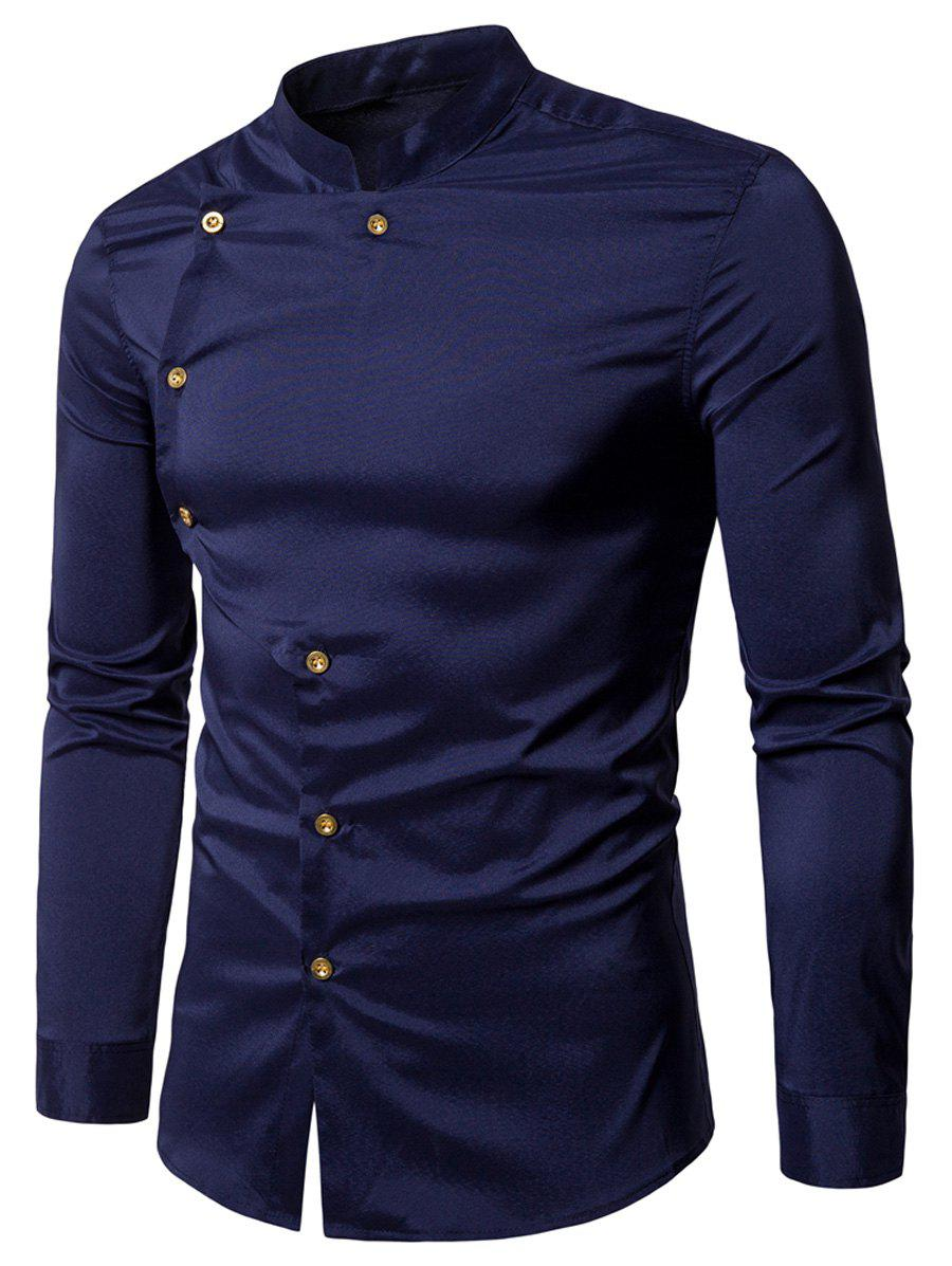 Asymmetrical Button Up Grandad Collar Shirt - PURPLISH BLUE M