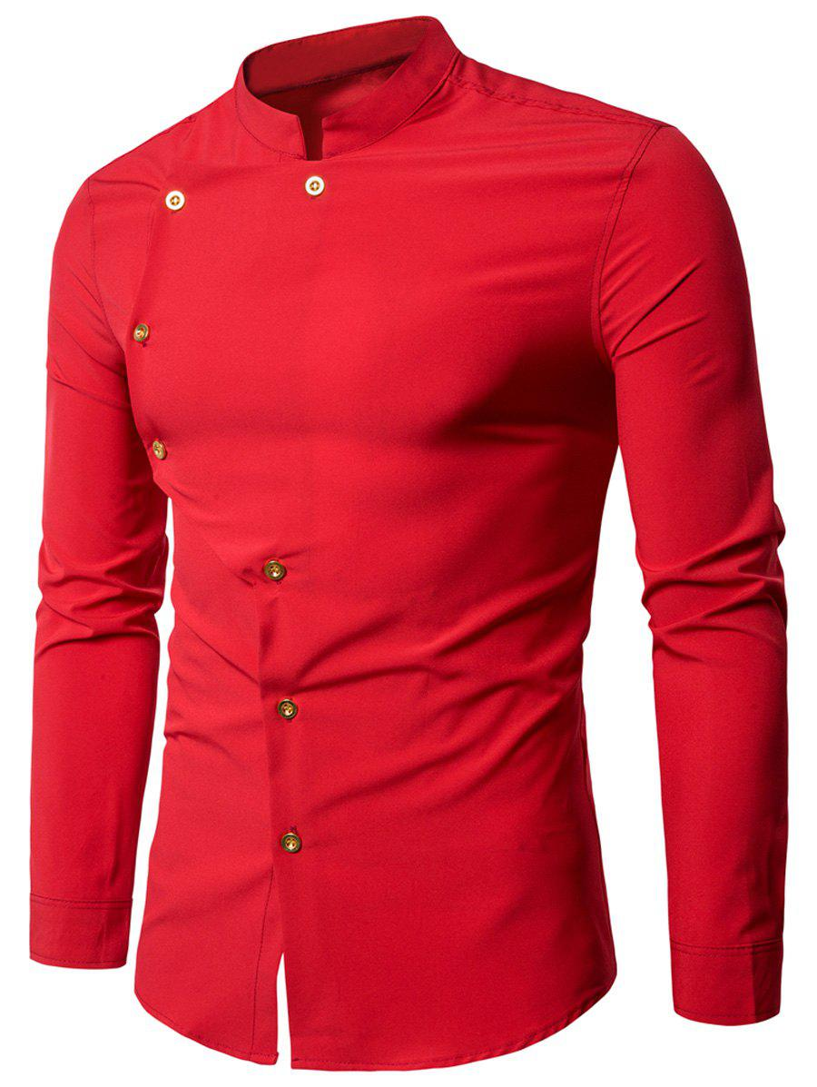 Asymmetrical Button Up Grandad Collar Shirt - RED XL