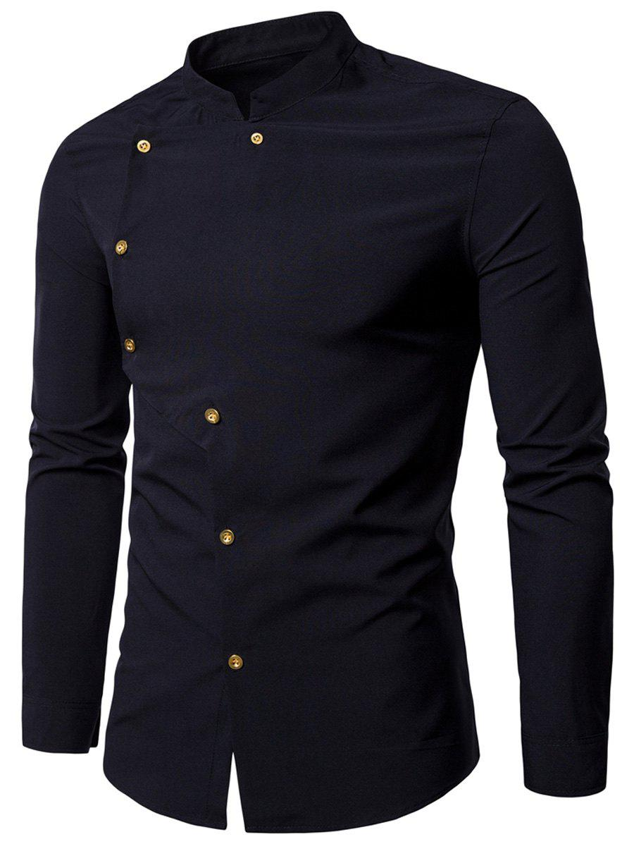 Asymmetrical Button Up Grandad Collar Shirt - BLACK L