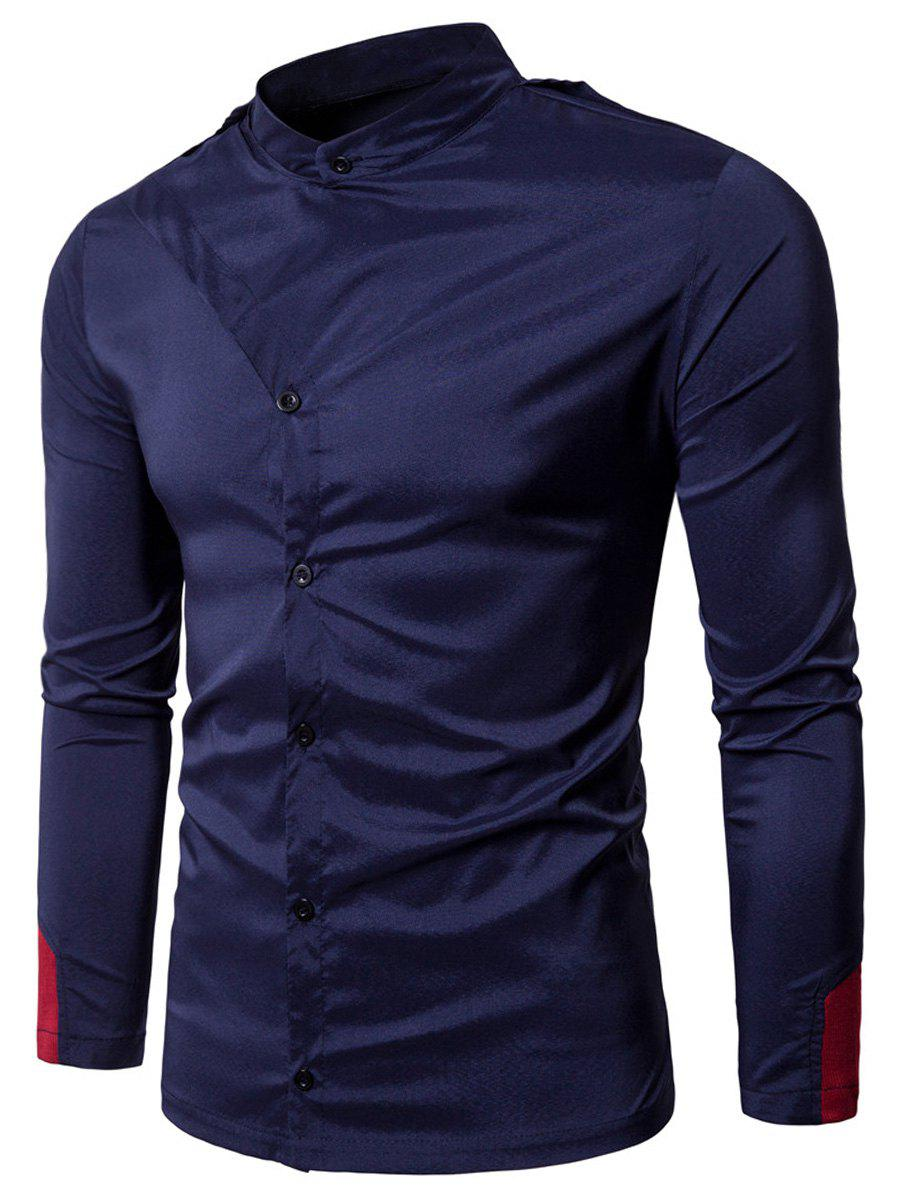 Grandad Collar Irregular Embellished Shirt - PURPLISH BLUE 2XL