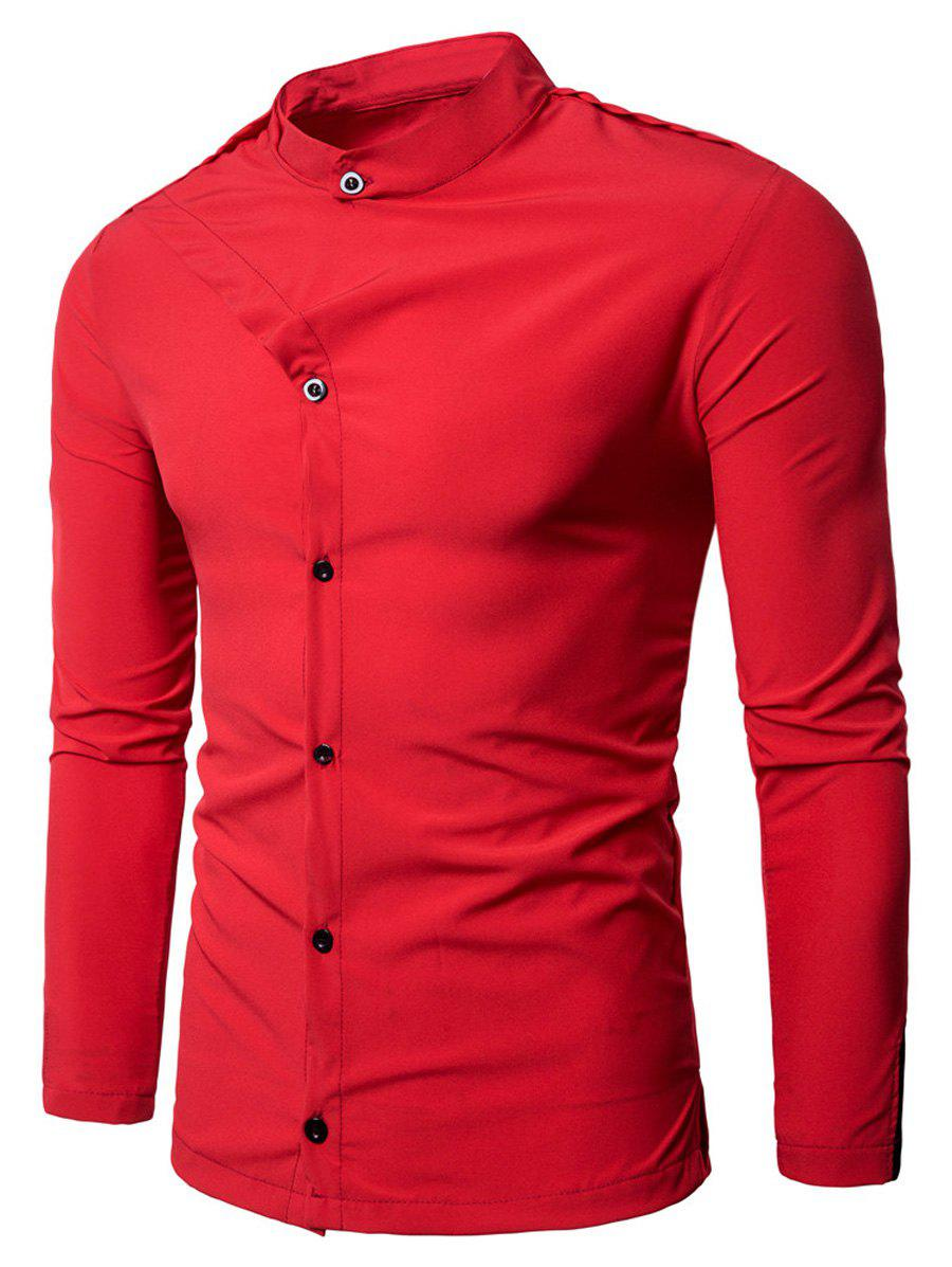 Grandad Collar Irregular Embellished Shirt - RED L