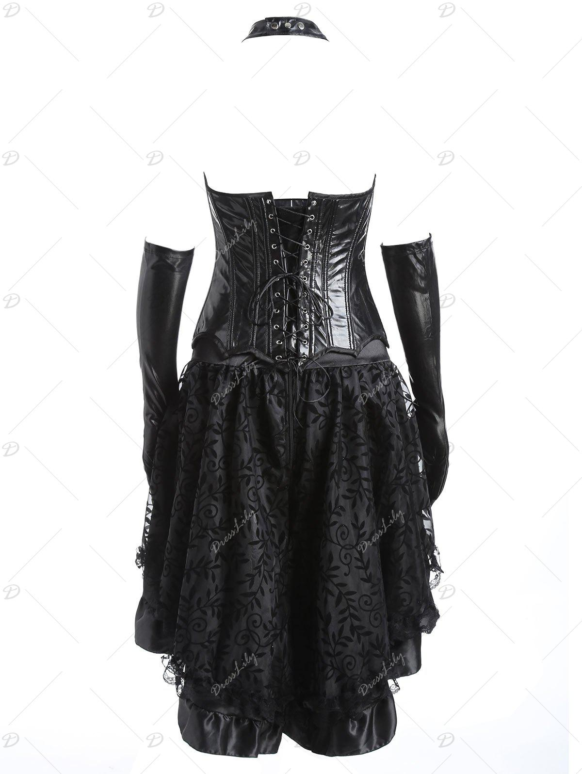 Faux Leather Flounce Two Piece Corset Dress - BLACK XL