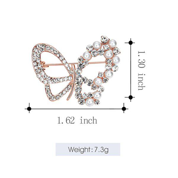 Rhinestone Faux Pearl Butterfly Brooch - ROSE GOLD