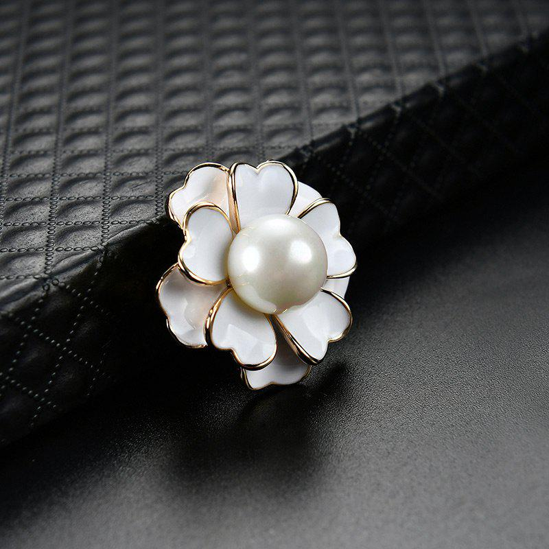 Faux Pearl Floral Brooch - WHITE