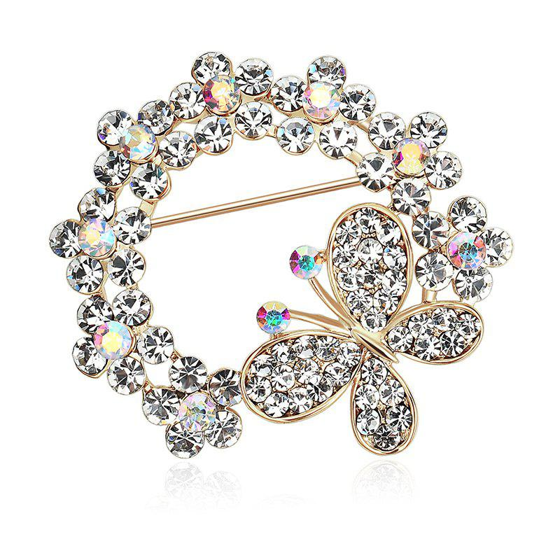 Broche papillon strass papillon - Or