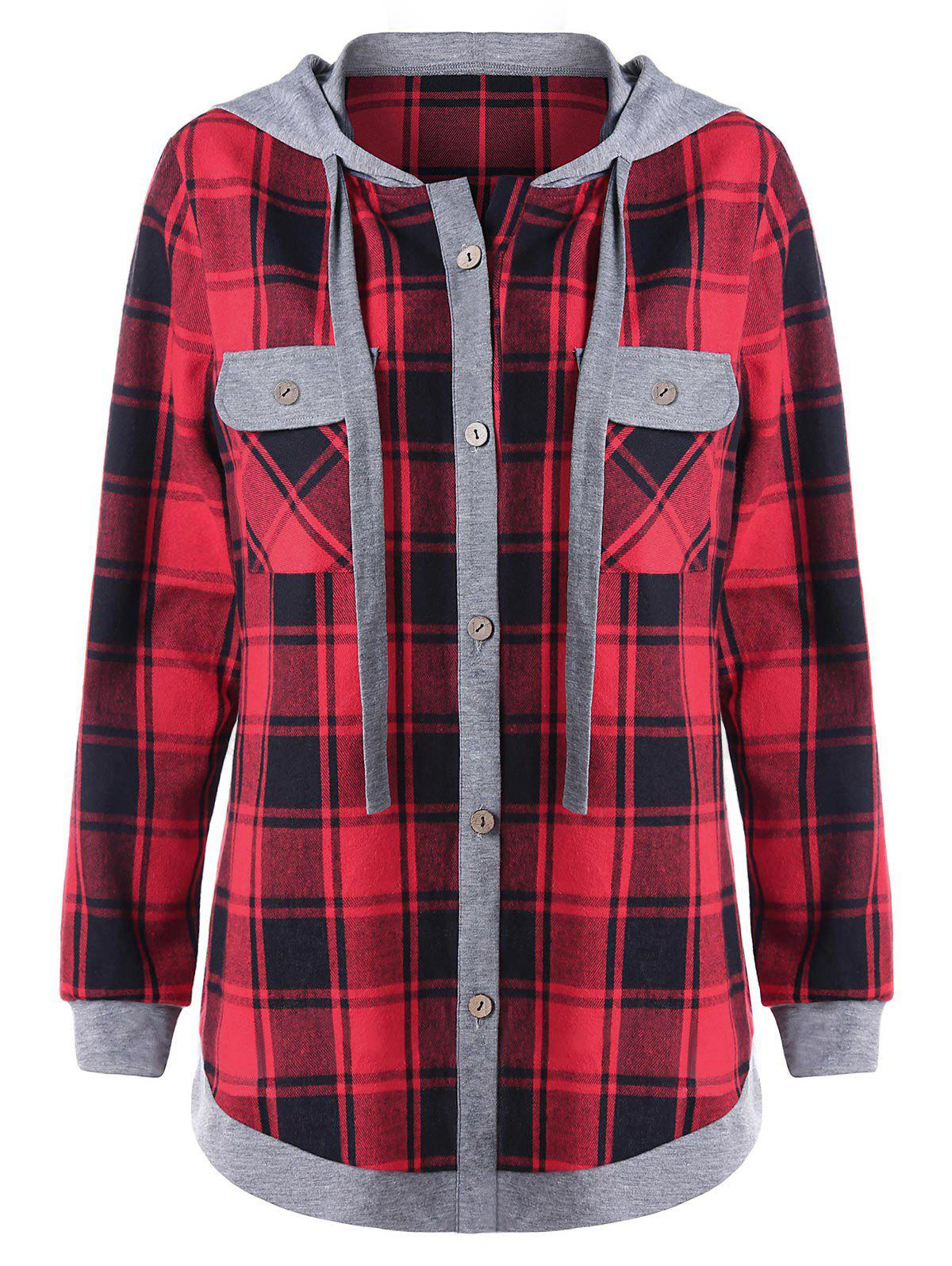Plus Size Long Sleeve Plaid Hoodie with Pockets plus size long sleeve dress with sleeveless hoodie