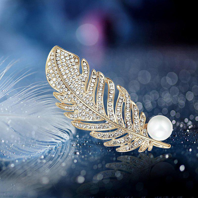 Faux Pearl Rhinestoned Feather Brooch - GOLDEN