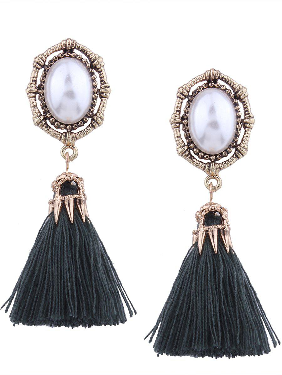 Vintage Faux Pearl Oval Tassel Earrings - GREEN