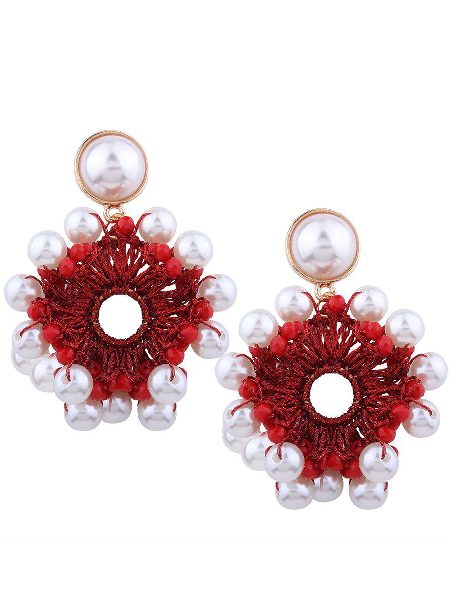 Faux Pearl Beaded Round Floral Earrings faux pearl beaded round floral earrings