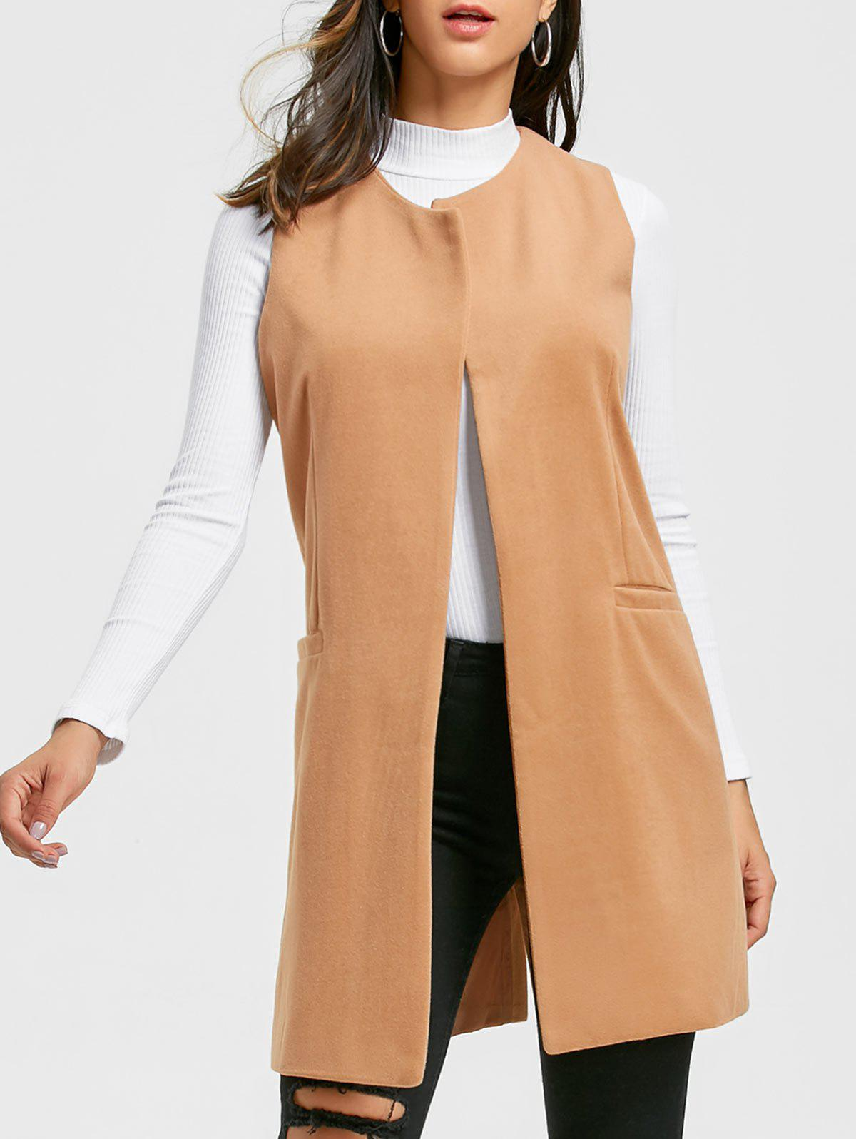 Side Pockets Back Slit Vest - KHAKI S