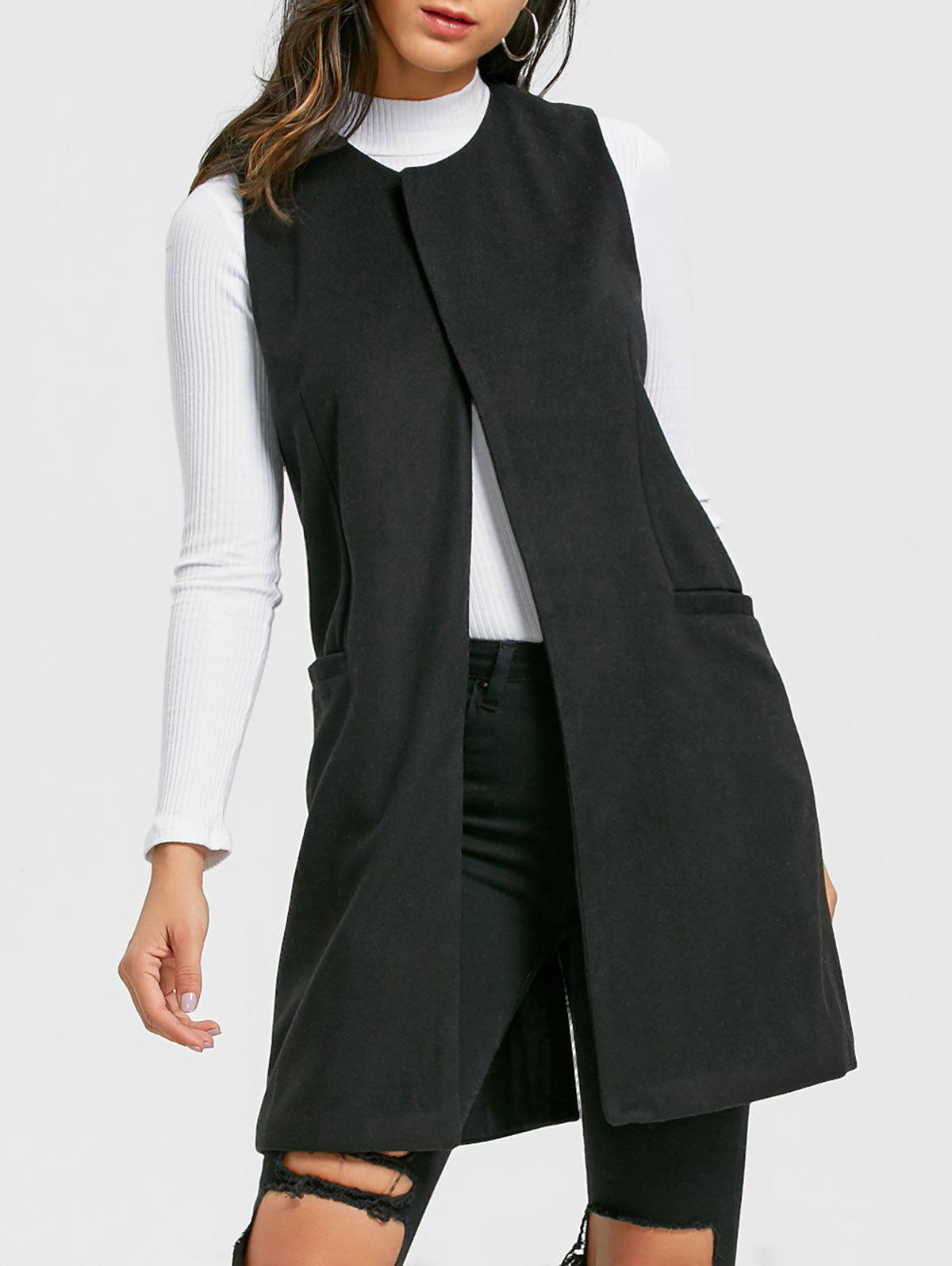 Side Pockets Back Slit Vest - BLACK S