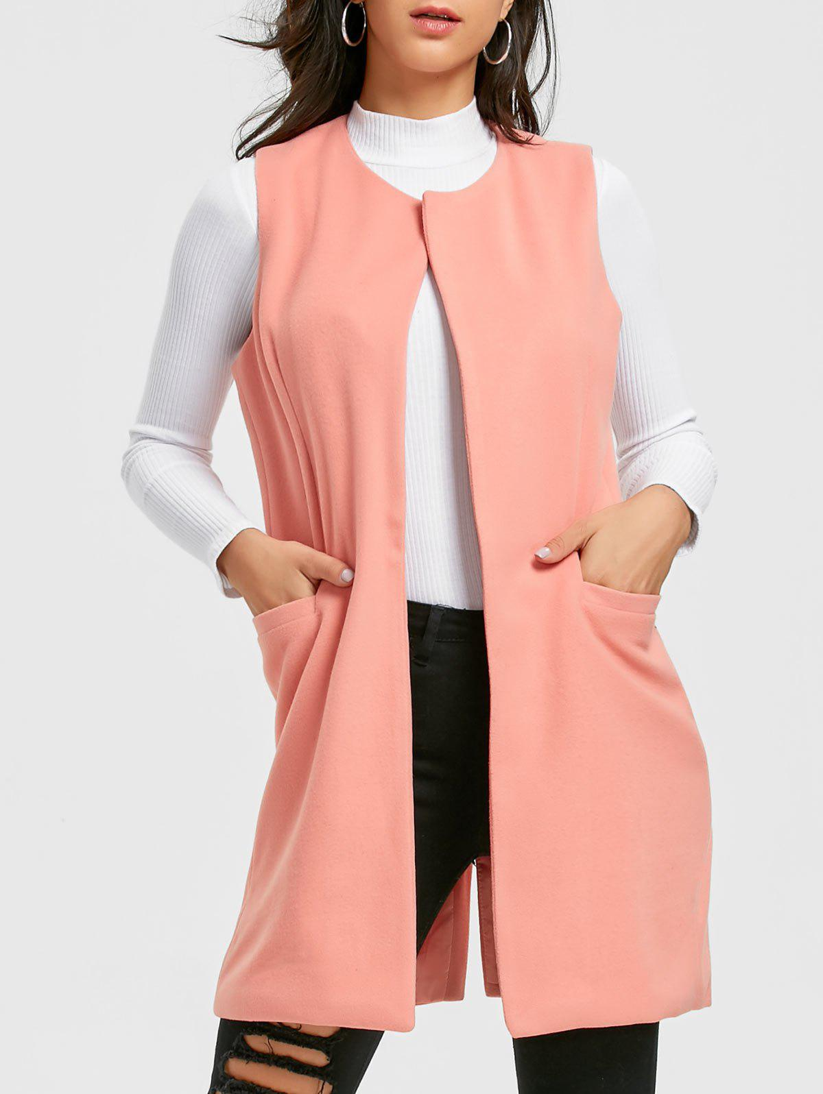 Side Pockets Back Slit Vest - PINK S