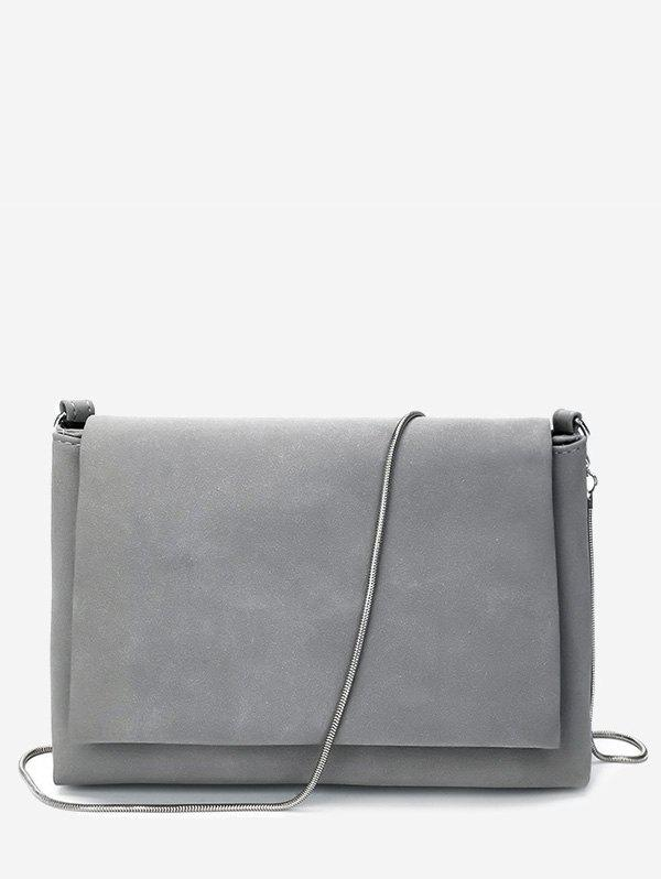 Chain Solid Flap Crossbody Bag - GRAY