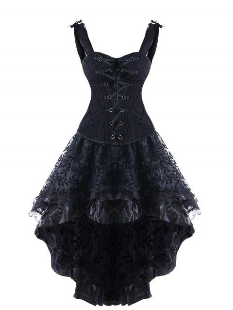 3a1e735e19a 41% OFF  2019 Steel Boned High Low Lace Up Corset Dress In BLACK S ...