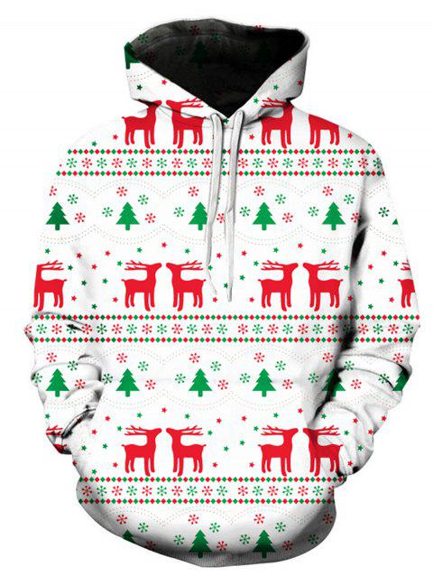 Christmas Geometric Elk 3D Print Pullover Hoodie - COLORMIX XL