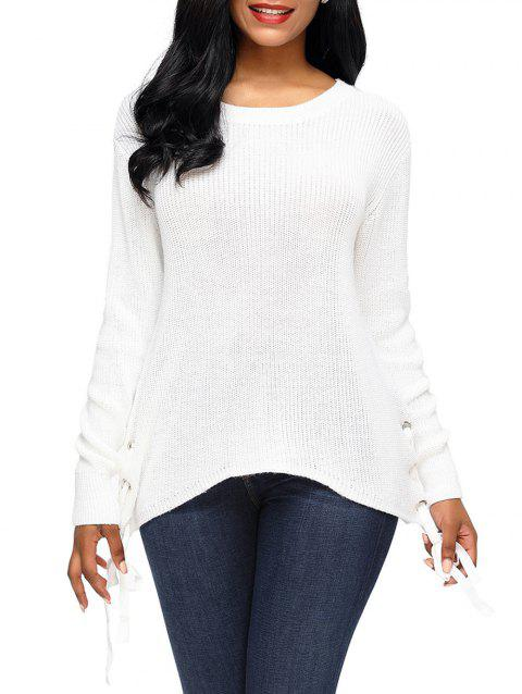 2019 Side Lace Up Knit Sweater In WHITE XL  7fe64d865