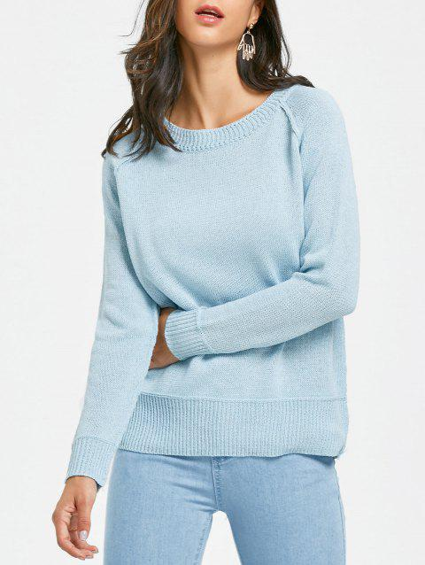 2019 Raglan Sleeve Crew Neck Tunic Sweater In LIGHT BLUE ONE SIZE ... 181ed1cd4