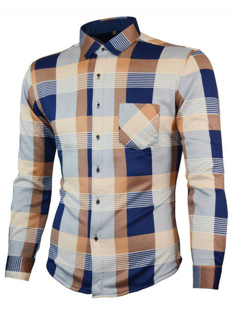 Long Sleeved Chest Pocket Plaid Shirt - KHAKI L